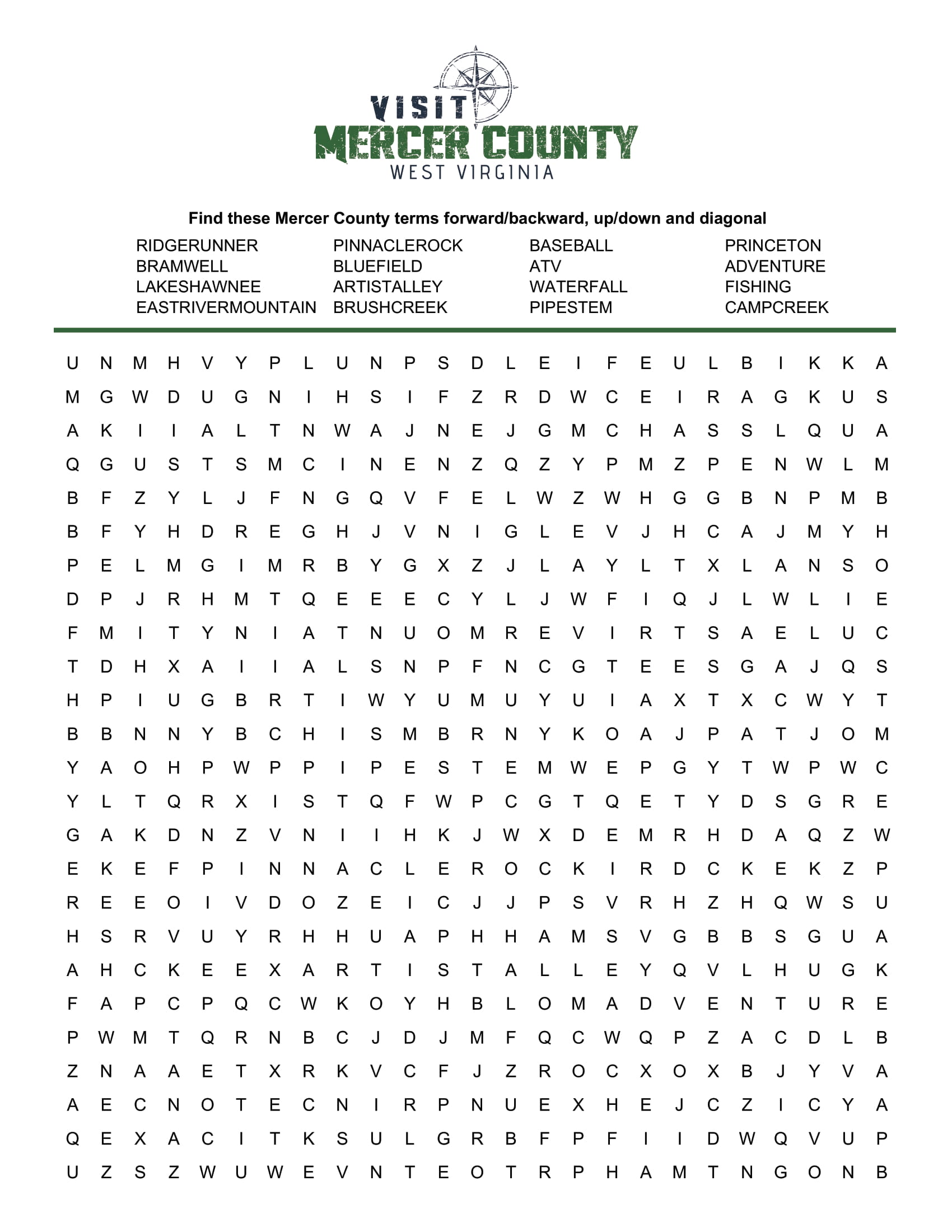 From favorite pastimes to historical places, find them all in our word search